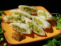 Green Peas Stuffed Idli