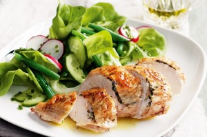 Baked chicken with thyme and sage butter