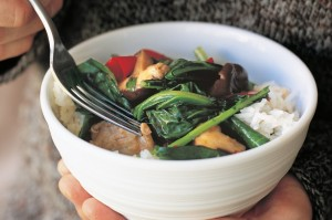 Chinese broccoli and mushroom stir-fry (vegetarian)