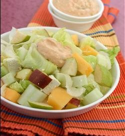 Pear, Apple and Paneer Salad in Low Cal Thousand Island Dressing