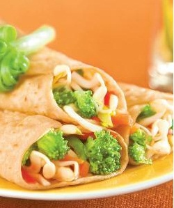Bean Sprouts and Veggie Wraps