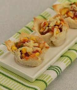 Baked Corn and Tomato Bread Cups