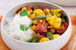 Cauliflower, chickpea, tomato and coriander curry